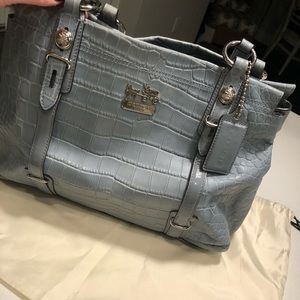 Light blue snakeskin leather Coach purse